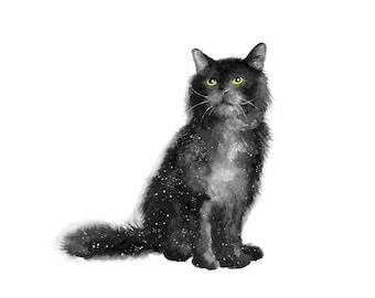 galaxy print, celestial watercolor, black cat print, cat print, galaxy cat, galaxy art, animal print, animal art, animal art print, cat art