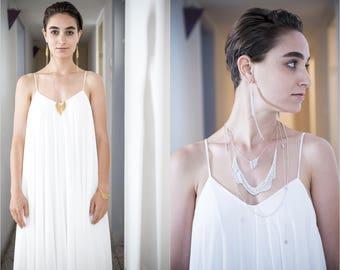 Chiffon Wedding Dress, Bridal Gown, off white wedding dress, simple wedding dress, wedding dresses with sleeves, bohemian wedding dress