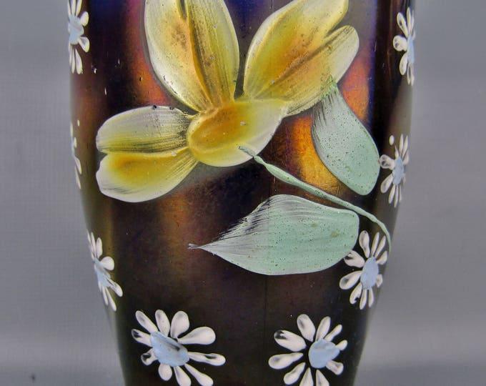 Carnival Glass - Enameled DAISY & LITTLE FLOWER Blue Hand Painted Tumbler