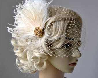 1920s Rhinestone head piece Bridal Veil White hairpiece headbpiece Feather 1920s Headpiece Bridal fascinator Wedding Veil and fascinator
