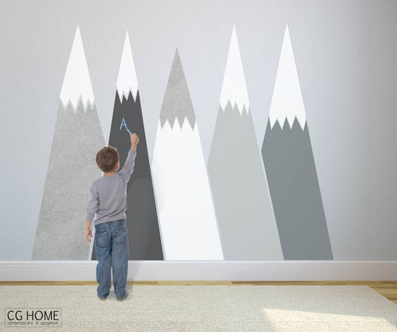 Mountains Wall Decal chalkboard MOUNTAIN Self Adhesive Removable Wall Protect SILVER customized Nursery for kids Washable Decor Blackboard
