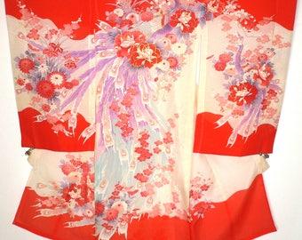 Rare, Beautiful, Japanese, Vintage, Girl's Shichigosan, Ceremonial, Ro (gauze) Faux Silk or Silk Blend Kimono Peacock Feathers & Flowers