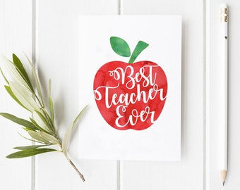 Best Teacher Ever Thank You Folded Card | Funny, Cute, School, professor, Holiday Greeting Stationery, family, Salutations, Apple, Congrats