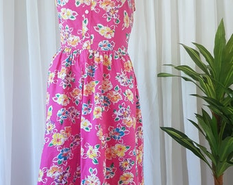 Vibrant 80s Cotton Summer Dress
