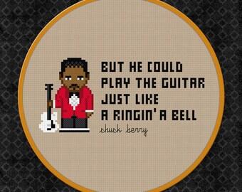 Chuck Berry Cross Stitch Pattern Modern   Rock n Roll Cross Stitch   Blues Cross Stitch   Guitar Cross Stitch   Johnny B Good Cross Stitch