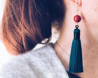 Long tassel earrings, Dark teal earrings, Large statement earrings, Single earrings