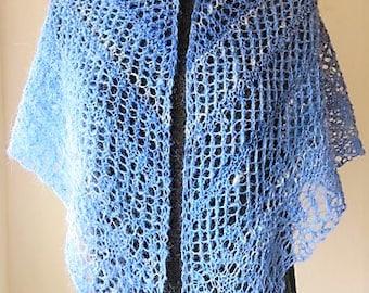 Blue Alpaca Shawl, Handspun Alpaca Wrap, Shawl, Scarf Multi-tonal Blue