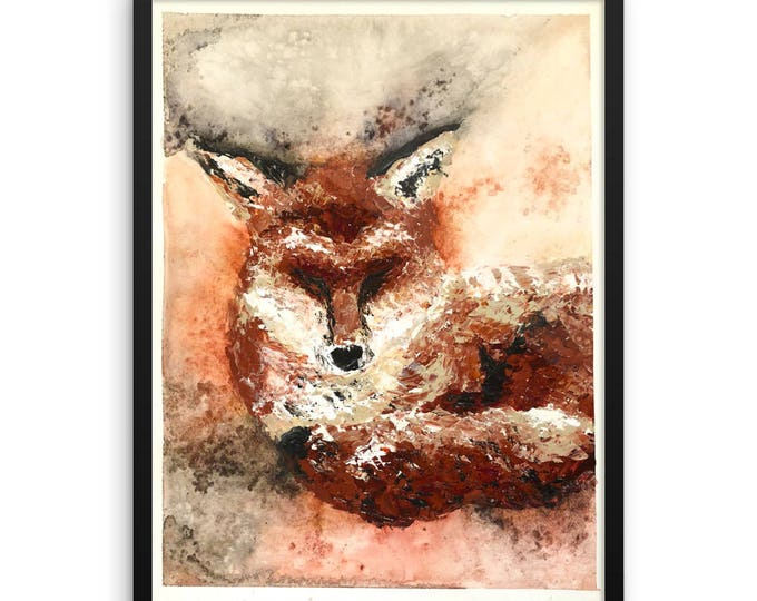 Sleepy Fox Framed poster