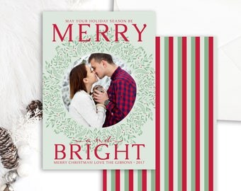 Christmas Photo Cards - Holiday Photo Card - Seasonal Cards - Merry and Bright Christmas Card - Christmas Cards Printable - Holiday Card