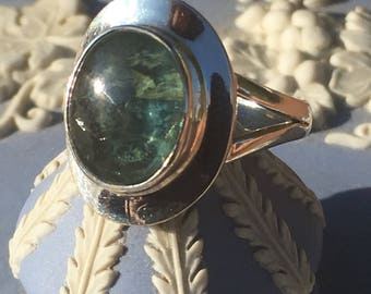 Blue Green Oval Tourmaline in a Cowboy Hat Setting , 92.5 Silver Ring US 7 1/2