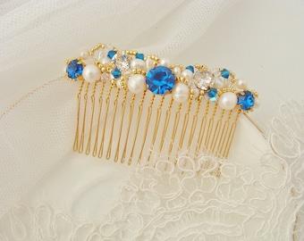 Blue Sapphire Hair Comb Bridal Hair Comb Something Blue Hair Comb Gold Navy Blue Wedding Pearl Hair Comb Gold Blue Ivory Crystal Hair Comb
