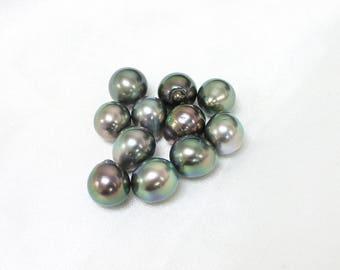 9-10mm Tahitian Pearls - Drop - Super Peacock Green Colorful - Wholesale
