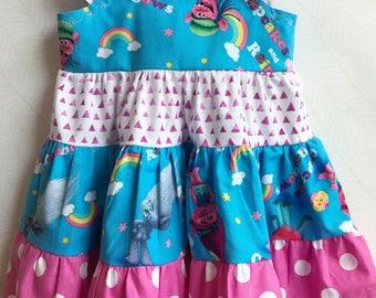 Trolls Birthday Party Ruffled Twirl Dress. Trolls Birthday Dress. Baby Girl Birthday Dress.