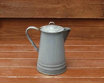 Enamel Kettle, Vintage Enamelware Graniteware Coffee Pot, Gray Graniteware Kettle