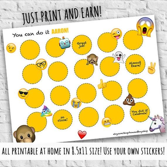 emoji incentive  u0026 reward chart printable potty training chore