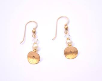 Pearl&Clear Crystal Swarovski beads earrings,14K Gold filled,goldfilled,elegant,goldfilled earrings,long earrings,delicate,unique,fashion