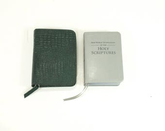 Dark Green Leather - Standard / Deluxe Size Zip Bible Cover - New World Translation 2013 - Jehovah's Witnesses