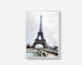 Paris Photography, Eiffel Tower, Paris Print, Paris Wall Art, Photographic Print, Home Decor, Wall Art, Gray, Blue, Print, Paris Photography