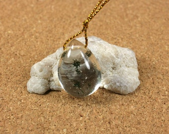 Ghost Quartz Teardrop Pendant - Green Mossy Inclusions in Crystal Clear Quartz