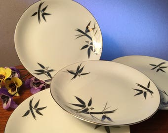 "One set of four DeVille ""Matrimony"" fine china bread and butter plates with silver platinum bamboo and leaves made in Japan"