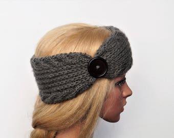Gray Ear Warmer, Knitting Winter Headband ,Knit and Crochet Headband, Ear Warmer,Brown Headband,Crochet Headband,Knit Turban Headband