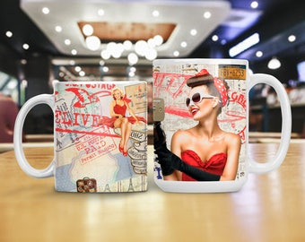 Retro Advertisements and Pinups Mug, Retro Mid-Century Cup, College Room Decor, Party Table Decoration, College Student Birthday Gift