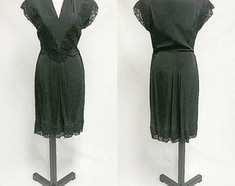 Vintage 1930's Black Evening Dress size Medium Womens Size 12 Plunging Neck Sequins lace with Gathered detail flapper roaring 20s inspired