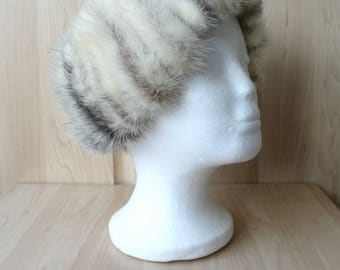 Vintage Real Black and White American Mink Strip Fur Hat Fantastic Condition H30