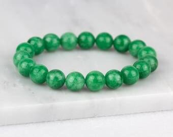 Green Jade Bracelet/ 8mm Jade Bracelet/ Green Gemstone Bracelet/ Emerald Green Bracelet/ Jade Bead Bracelet