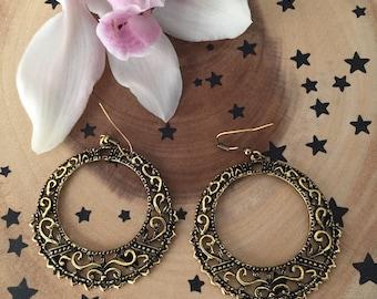 Vintage Golden Bohemian Hoop Earrings, Reiki Infused