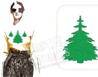 Tree Fir Machine Embroidery Design 3 Sizes