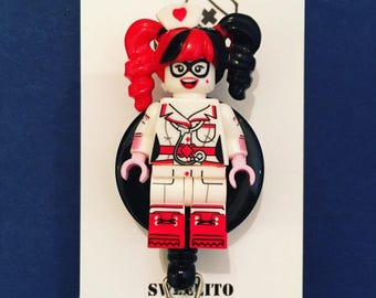 Nurse Harley Quinn™ Lego© ID Holder Customized with Brick® Minifigure ~ Badge Reel ~ Belt Clip ~ Alligator Clip ~ Keychain Cufflinks Nurse