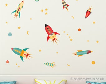 Space wall stickers, rocket wall stickers, rocket and planet space wall decals, reusable fabric wall stickers, rocket wall stickers for kids