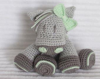Crochet Horse, Horse Stuffed Animal, Grey and Green, Crochet Animal, Horse Plush, Stuffed Horse, Gender Neutral, Horse Nursery, Western