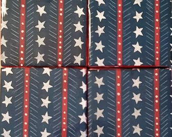 Handmade Coasters Red White and Blue Fourth of July