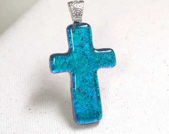 Blue Cross Necklace, Dichroic Glass Pendant, Symbolic Jewelry, Inspirational Gift for Her