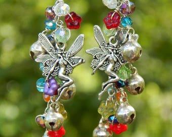 Fairy earrings, fantasy earrings, boho gifts, fantasy creatures, fairy jewelry, long earrings, gemstone dangle, faerie jewelry, fantasy