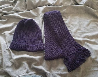 knitted winter hat and matching scarf / double knitted hat and scarf set / made and ready to ship