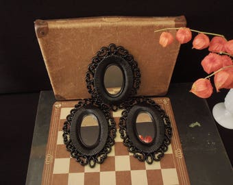 Wall Hanging Mirror Set - Oval Mirrors Black Plastic Frames Mid Century - Decor Hanging Mirrors - FREE SHIP
