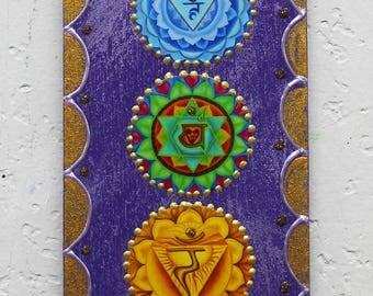 Chakra wall art, meditation art,zen wall decor, yoga art, healing art, inspirational art, purple wood plaque, OM plaque