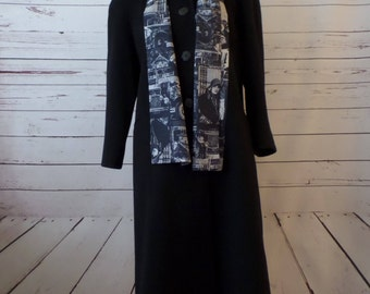 Vintage Alorna Womens PM - PL Petite Medium - Large Wool Blend Lined Black Coat With Matching Scarf