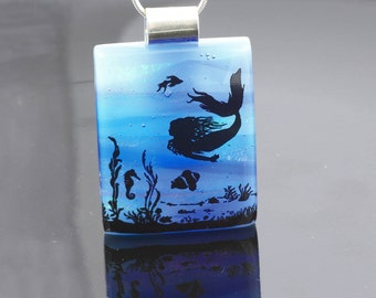 Fused Glass  Pendant-Dichroic Glass Pendant Underwater Scene with Mermaid-Fused Glass Jewellery-Dichroic Jewelry-Fused Glass Jewelry. JBT548