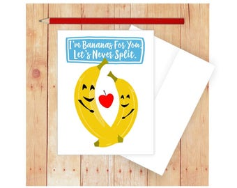 I'm Bananas for You Card, Funny Anniversary Card, Food Pun, Funny Valentine Card, Fruit, Banana Art, Funny Pun Card, Funny Love Card