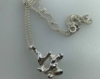 Silver Freeform Cast Pendant with Sterling Silver Chain