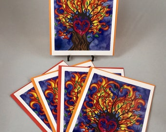 "5 blank cards 5"" X 7"" with envelopes- ""Burning Bush"""