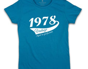 40th Birthday Gift For Woman 1978 Vintage T shirt ideal present for women celebrating a fortieth birthday, medium large xl 2xl
