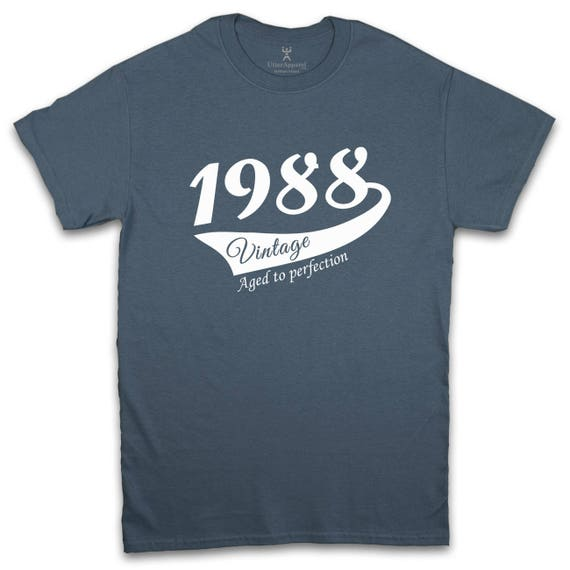 30 birthday gift for man Round Crew Neck T Shirt 1988 Vintage Print Sizes S-2XL Other colors available