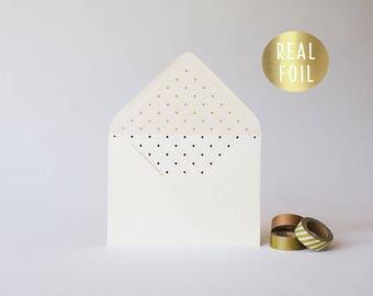 gold foil polka dot lined envelopes  (sets of 10)  // gold foil modern envelope liners lined envelope