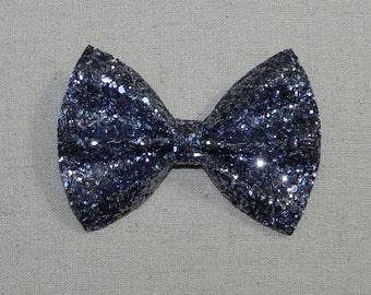 Premium GunMetal Glitter Bow Tie Bow, Gunmetal Glitter Bow Tie Bow, Gunmetal Glitter Hair Bow