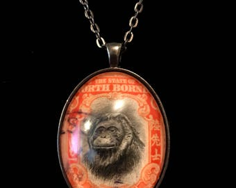 Orangutan Postage Stamp Necklace | Rare Vintage stamp | Stamp art | 1930s |